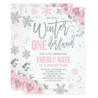 Birthday Card Template Winter Onederland by Winter Onederland Invitations Announcements Zazzle