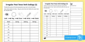 year 2 spelling practice irregular past tense verb endings 1