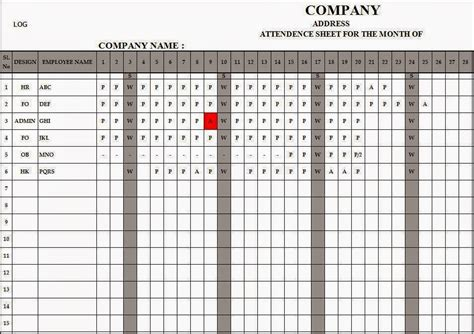 employee register template employee attendance register in excel free