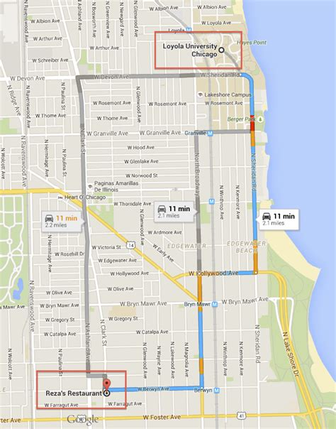 loyola chicago map map loyola to reza s restaurant