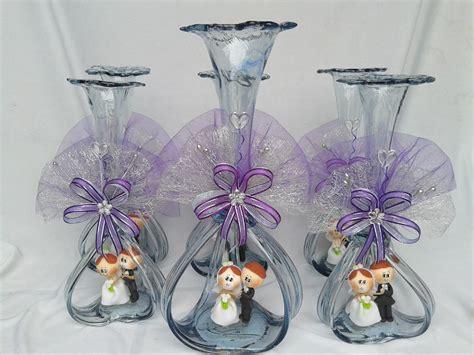 hermoso centro de mesa boda florero vidrio soplado novios florero vidrio soplado boda centro de mesa 60 00 en