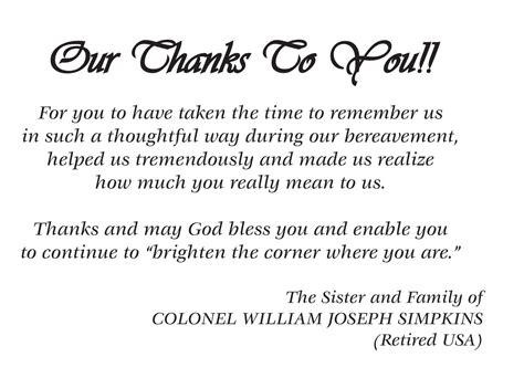 letter of thanks and appreciation after a funeral thank you memorial cards