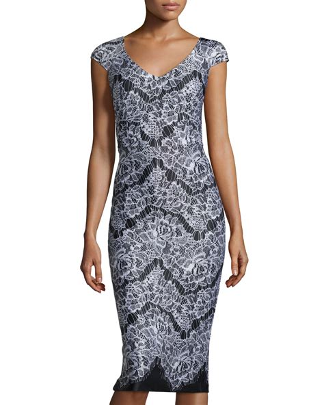 Sleeve Print Midi Dress lyst neiman cap sleeve lace print midi dress