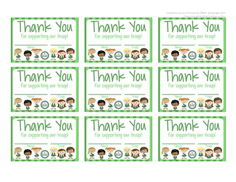 scout thank you cards template fashionable scouts free printable thank you