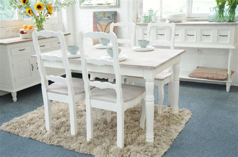White Shabby Chic Dining Table And Chairs Painted Shabby Chic Kitchen Dining Table Set With 4 Chairs Grey Or White Ebay