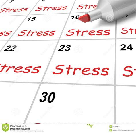 Calendar Meaning Stress Calendar Means Pressure Strain And Stock