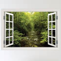 Window Wall Sticker Full Colour Forest Woodland River Window Scene Wall