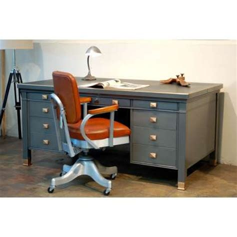 vintage steel tanker desk vintage steel tanker desk and chair with refinished look