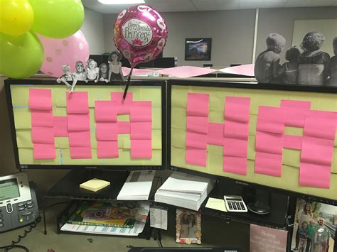 party themes at work work decoration birthday cubicle balloon sticky note