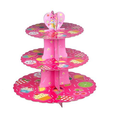 Cupcake Stand Rak Cupcake 3 Tier Edisi Birthday T45 L30 pink fruit 3 tier cardboard cupcake stand hold kit 16 cupcakes celebration baby