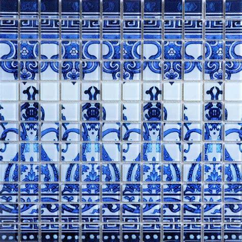 Crystal Glass Tile Blue and White Puzzle Mosaic Tile