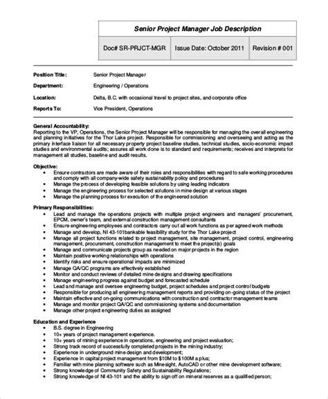 project manager job description job description project manager