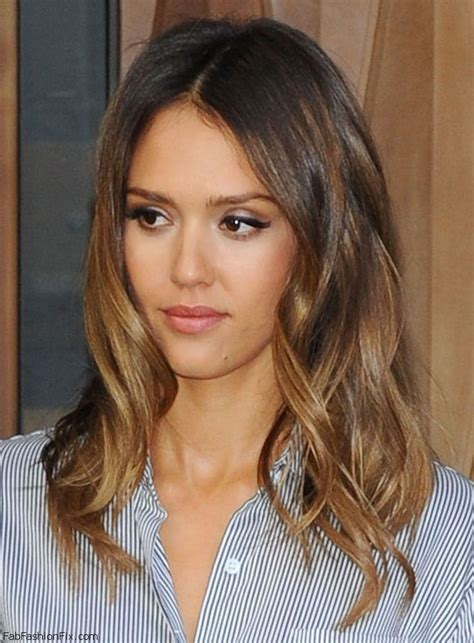 brunette lob hairstyles 2015 gorgeous jessica alba with honey brown beach waves