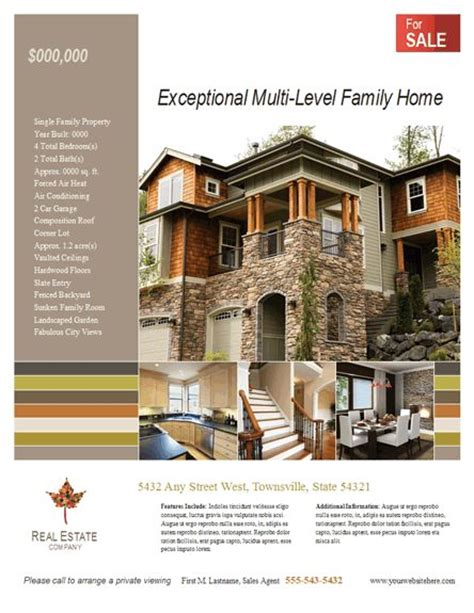 real estate brochures templates free real estate listing flyer template for microsoft publisher