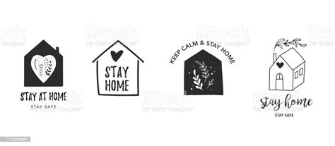 stay  home stay safe vector logos illustrations
