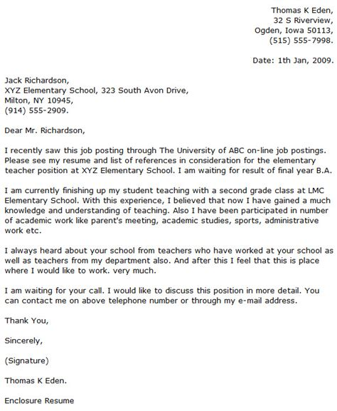 Sle Elementary Cover Letter cover letter for teachers sle 28 images part time