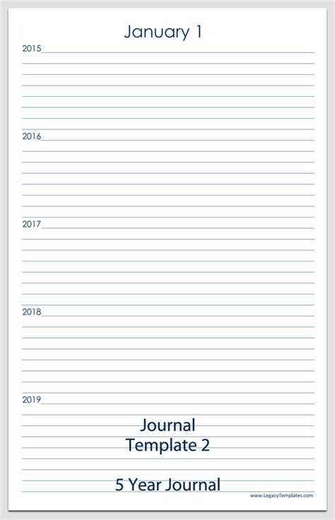 journal templates printable pdfs legacy templates