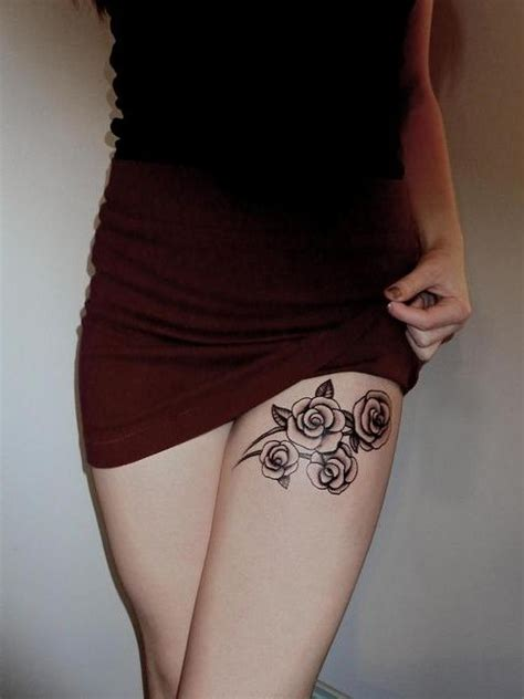 simple rose tattoos on thigh thigh tattoos for from