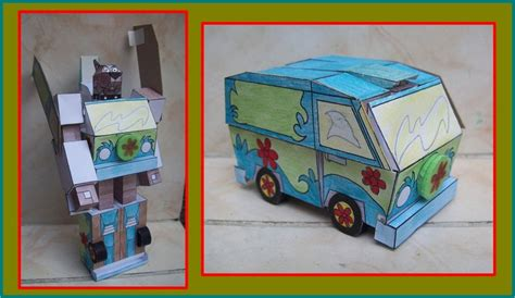 Scooby Doo Papercraft - la mistery machine transformandose en scooby doo by