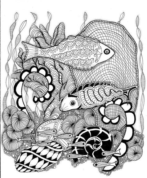 zendoodle coloring page zentangle download fishes zendoodle to by