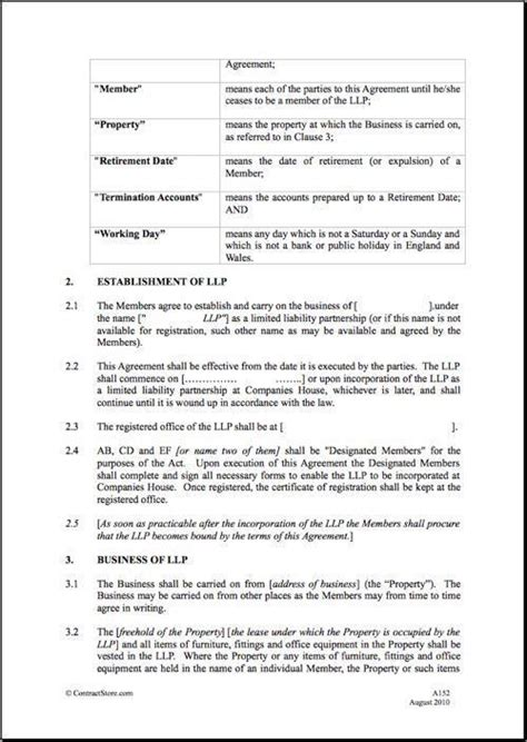 limited liability agreement template limited liability partnership agreement template best