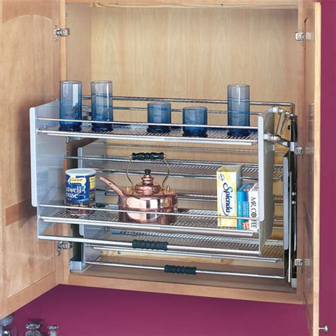kitchen cabinet pull down shelves rev a shelf premiere quot pull down shelving system for kitchen wall cabinet kitchensource com