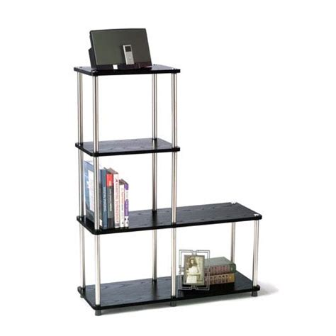 standing l with shelves designs2go black l bookshelf convenience concepts free standing shelves bookcases home o