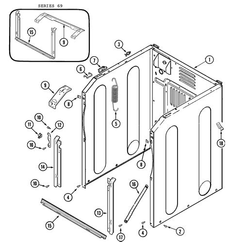 cabinet front diagram parts list for model mah4000aww