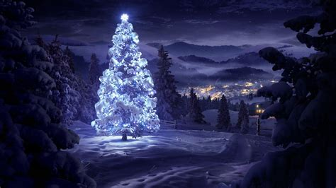 christmas tree snow wallpaper wallpapersafari