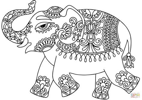 Indian Elephant Coloring Pages Printable