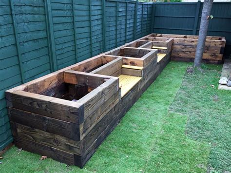 raise bed les mable s raised beds with bench seats from new railway
