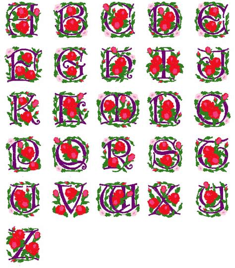 rose pattern font rose adorned alphabet fonts machine embroidery designs