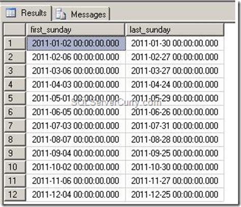 mysql date format month leading zero sql server first and last sunday of each month