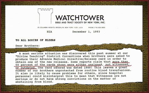 Unsigned Commitment Letter Watchtower No Blood Card Ajwrb Org