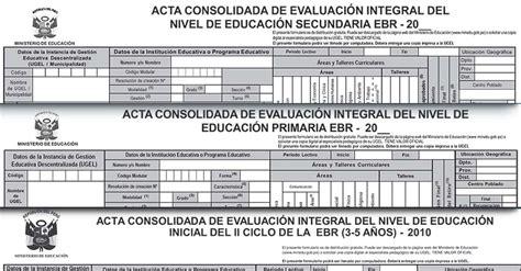minedu registro de evaluacion primatia formatos oficiales de acta consolidada de evaluacion