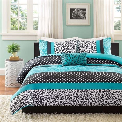 teal and grey comforter set modern chic aqua teal grey black leopard blue dots stripe
