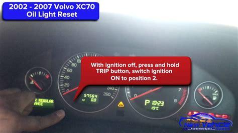 volvo xc oil light reset service light reset youtube