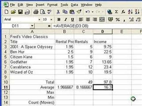 youtube tutorial excel formulas microsoft excel tutorial for beginners 4 functions