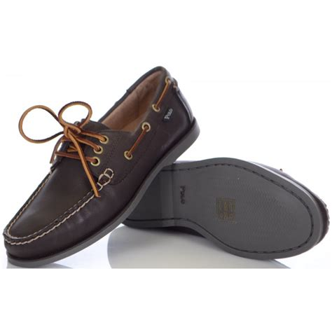 ralph boat shoes ralph shoes brown embossed leather boat shoe