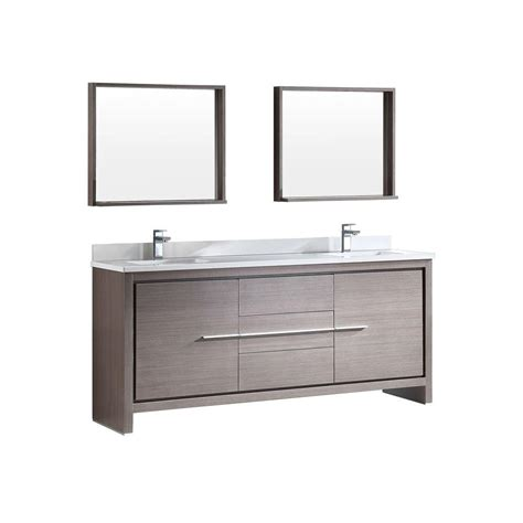 gray mirrored vanity with statuary marble top fresca allier 72 in double vanity in gray oak with glass