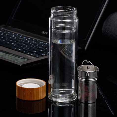 Wall Infuser Bottle Bamboo bpa free wall glass tea infuser water bottle with