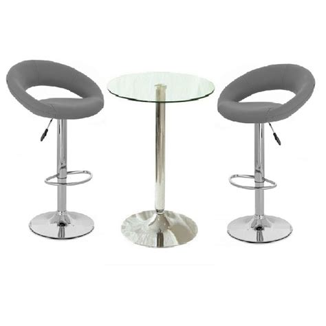 Glass Bar Table And Stools Gino Glass Bar Table And 2 Leoni Bar Stools In Charcoal