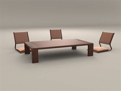 Low Dining Table Ikea Japanese Style Low Dining Table And Chair By Artemishe 3docean