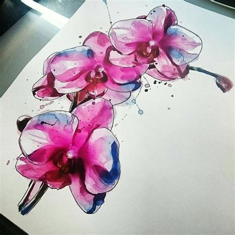 watercolor orchid tattoo watercolor orchid flowers tattoos sle
