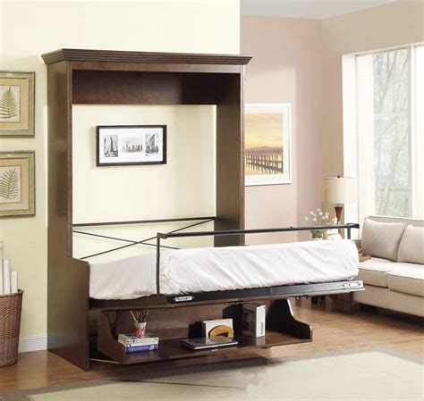 murphy bed with desk natanielle full murphy bed with desk walnut 2 299 99