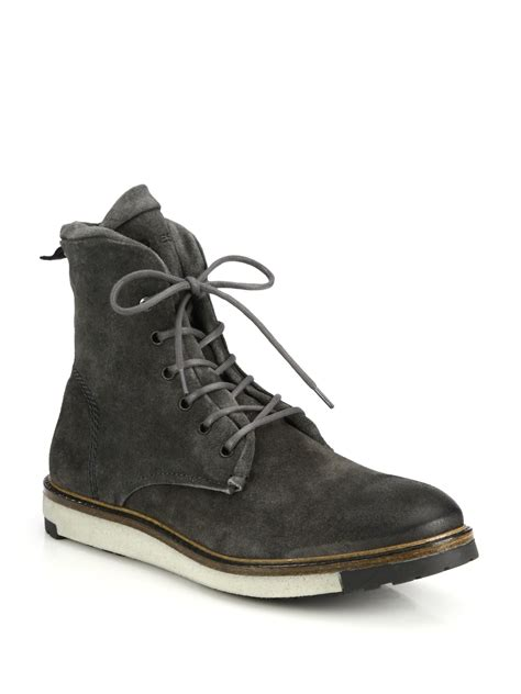 diesel krepped suede lace up boots in gray for lyst