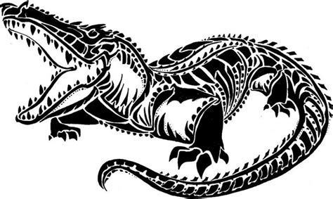 tribal crocodile tattoo designs black color tribal reptile design by