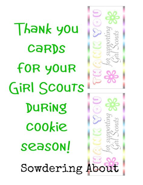 printable thank you cards girl scout cookies sowdering about girl scout cookie thank you cards