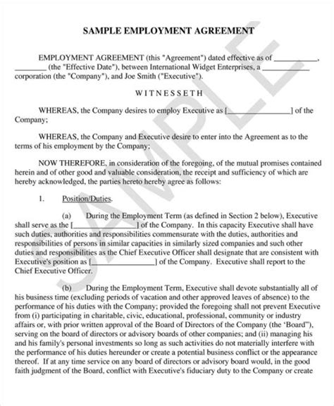 8 Employment Agreement Sles Sle Templates Executive Employment Contract Template