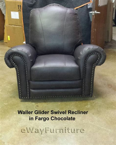 fargo chocolate top grain leather glider swivel recliner
